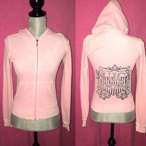 NWOT! Pink Velour Juicy Couture Bling Jacket SMALL